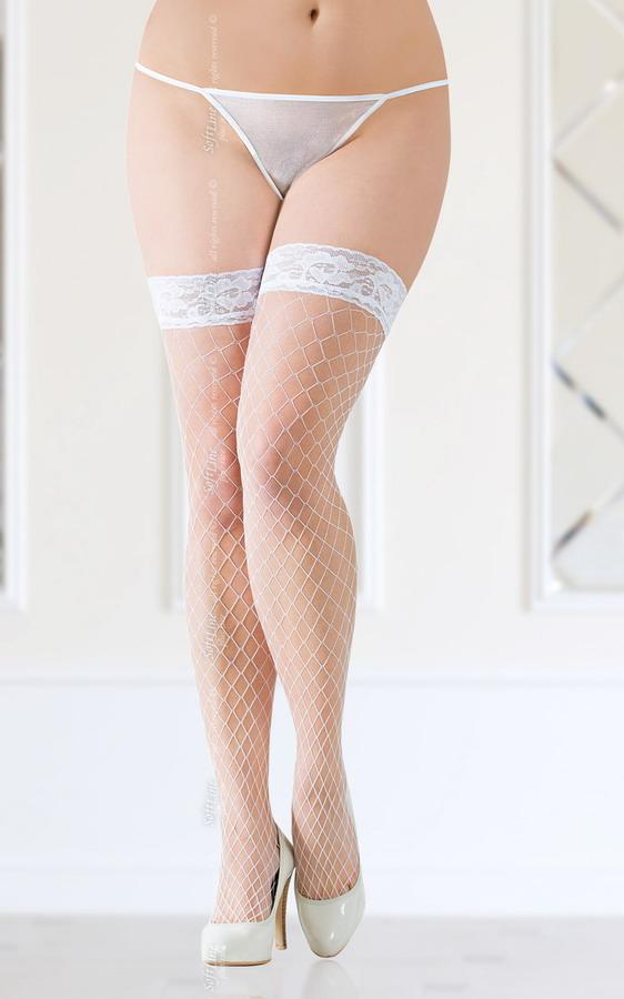Панчохи - Stockings 5520, Plus Size, white