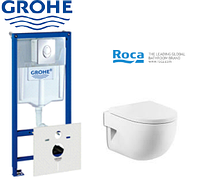 Комплект инсталляция Grohe Rapid SL 38775001 4в1+унитаз ROCA MERIDIAN с сидением soft close A34H249000