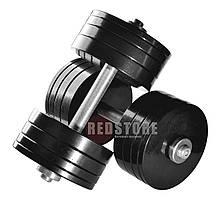 Розбірні гантелі металеві з покриттям 2 по 30 кг (набірні, гантелі для будинку, загальна вага 60кг)