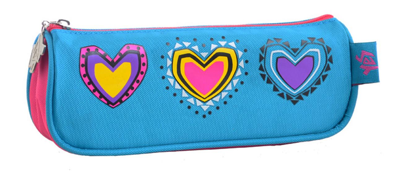 Пенал мягкий  YES  Hearts turquoise, 20*4.5*7.5