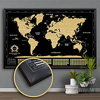 Скретч Карта Мира в Рамке Большая Карта Світу для Путешествий Черная c Золотом с Аксессуарами на Стену Divalis