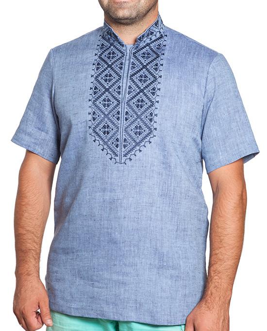 Голубая вышиванка мужская (в размерах S-3XL)