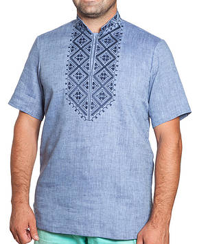 Блакитна вишиванка чоловіча (в розмірах S-3XL)