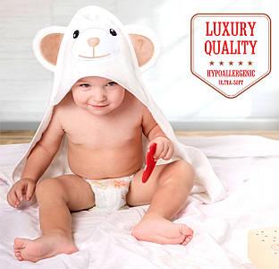 Премиальное Детское Банное Полотенце с Капюшоном - Бамбуковое Полотенце Уголок -  Мишка - Бонус: Мочалка