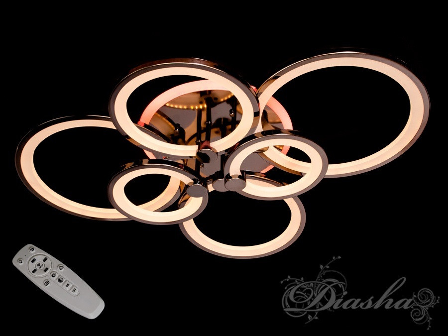 Потолочная люстра с диммером и LED подсветкой, цвет чёрный хром 1811/6BHR LED 3color dimmer