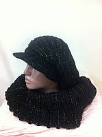 комплект вязанная кепка  и шарф