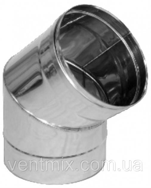 Колено 45* d 130 мм из нержавеющей стали (AISI 304) (1 мм)