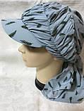 Бандана-шапка-косынка с козырьком и объёмной драпировкой, фото 3