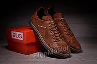 Кеды кроссовки кожаные с перфорацией Guess Los Angeles Olive, фото 1
