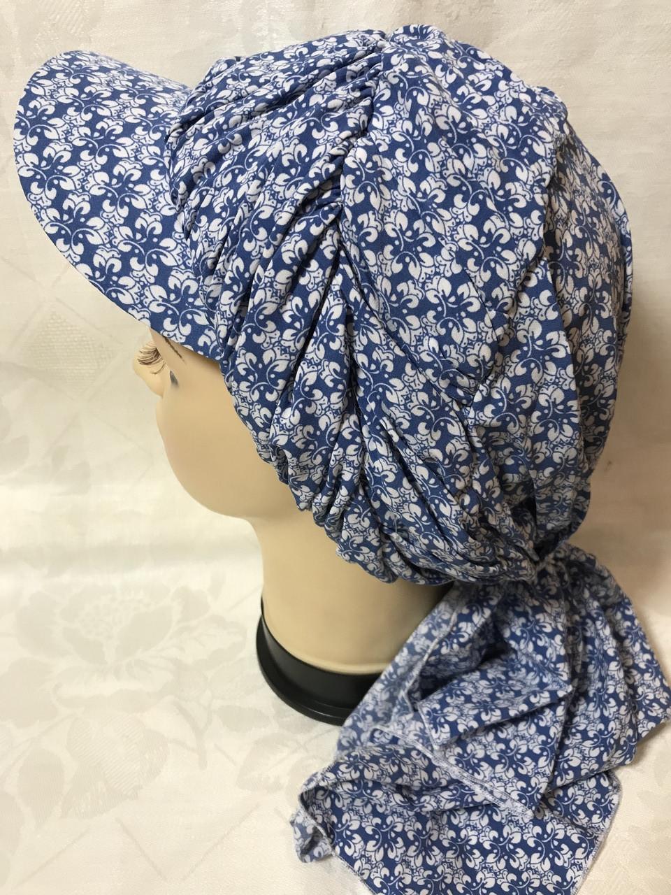 Бандана-шапка-косынка синяя с козырьком и объёмной драпировкой
