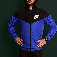 Куртка ветровка мужская спортивная синяя с черным Nike