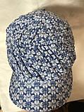 Бандана-шапка-косынка синяя с козырьком и объёмной драпировкой, фото 3
