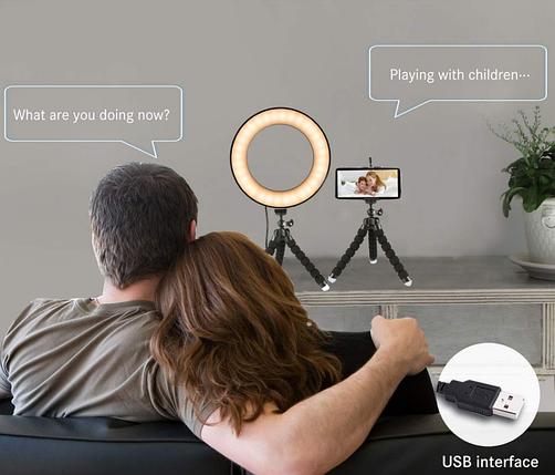 Кільцева лампа для блогерів Pink (12 см. діаметр) +міні-студійний штативом 2шт, фото 2