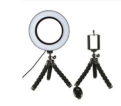 Кільцева лампа для блогерів Pink (12 см. діаметр) +міні-студійний штативом 2шт, фото 3