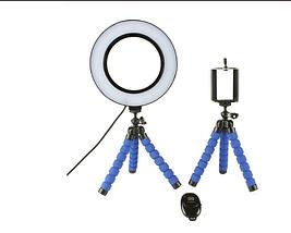 Кольцевая лампа для блогеров   (12 см. диаметр) +мини-студийный штативом 2шт, фото 3