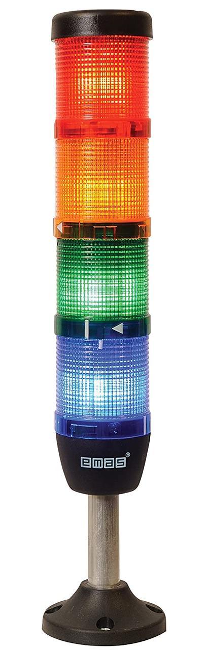 Световая колонна диаметр 50мм 4 яруса (красный, зелёный, жёлтый, синий)  светодиод 24В алюм. патрубок 100мм