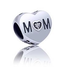 Серебряный шарм на браслет Сердце MOM