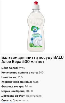 Бальзам для мытья посуды BALU Алоэ Вера 500мл от 240шт.