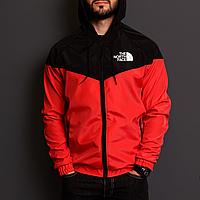 Куртка ветровка мужская красная с черным The North Face