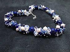 Набор украшений. Серьги, браслет, ожерелье. Микс Лазурит. 12мм, фото 2