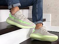 Кросівки чоловічі в стилі  Adidas x Yeezy Boost   сірі із салатовим  ТОП якість