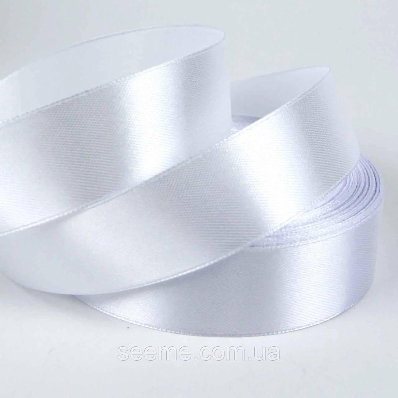 Лента атласная 25 мм, цвет белый