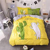 КОМПЛЕКТ ПОСТЕЛЬНОГО БЕЛЬЯ. Ткань БЯЗЬ. размер - ЕВРО. Цвет зеленый, желтый с кактусами, котом