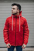Мужская весенняя куртка на весну с капюшоном красная