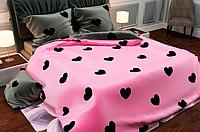 КОМПЛЕКТ ПОСТЕЛЬНОГО БЕЛЬЯ. Ткань БЯЗЬ. размер - ЕВРО. Цвет розовый, серый с сердечками