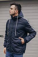 Мужская весенняя куртка на весну с капюшоном синяя