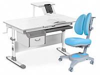 Комплект парта и кресло Evo-kids Evo-40 New + кресло Y-115 белая столешница, цвет пластика серый