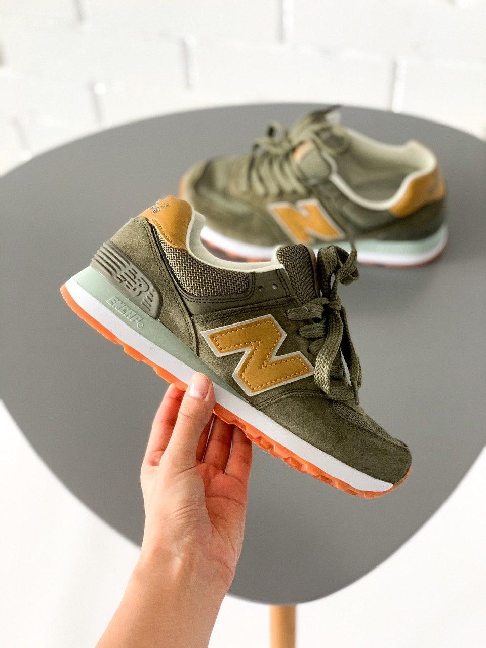 🔥 Женские кроссовки New Balance 574 хаки зеленые 37