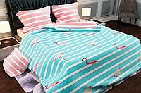 КОМПЛЕКТ ПОСТЕЛЬНОГО БЕЛЬЯ. Ткань БЯЗЬ. размер - ЕВРО. Цвет бирюзовый, розовый в полоску с фламинго
