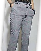 Женские брюки серые в розовую клетку  батальные 48-54, фото 1