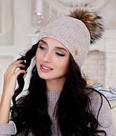 Зимняя женская шапка ажурная с меховым бубоном в 8ми цветах 4194