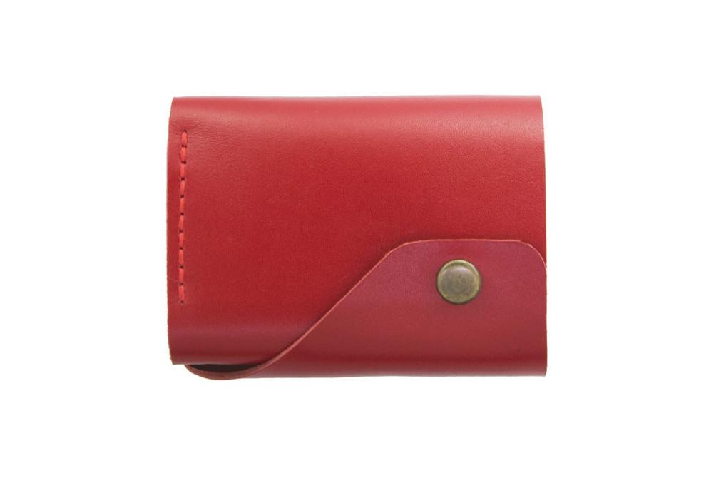 Кожаный женский кошелек Triple красный