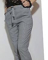 Женские серые брюки в клетку батальные 48-54, фото 1