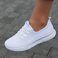 Мокасины белые женские на шнурках кроссовки светлые летние (Код: М1725)