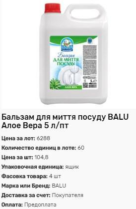 Бальзам для мытья посуды BALU Алоэ Вера 5л от 60шт.