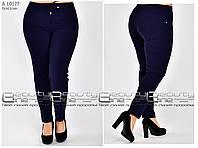 Стильные женские летние брюки из бенгалина батал т-синие с 48 по 58