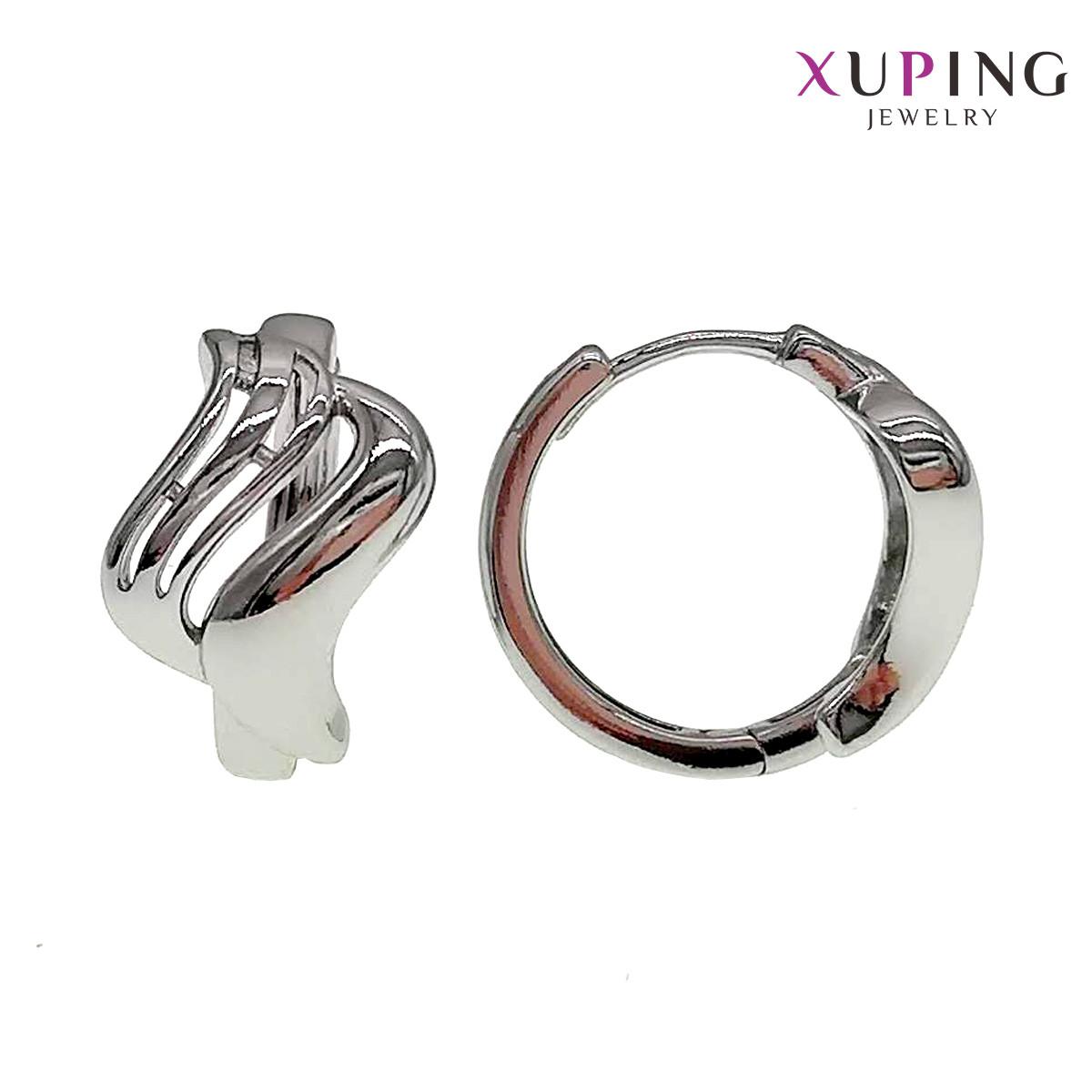 Серьги Xuping, размер 20х13 мм, вес 7 г, родий (белое золото), ХР00688 (1)