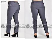 Модные женские летние брюки из стрейч коттона горчичного цвета с 48 по 60 размер, фото 3