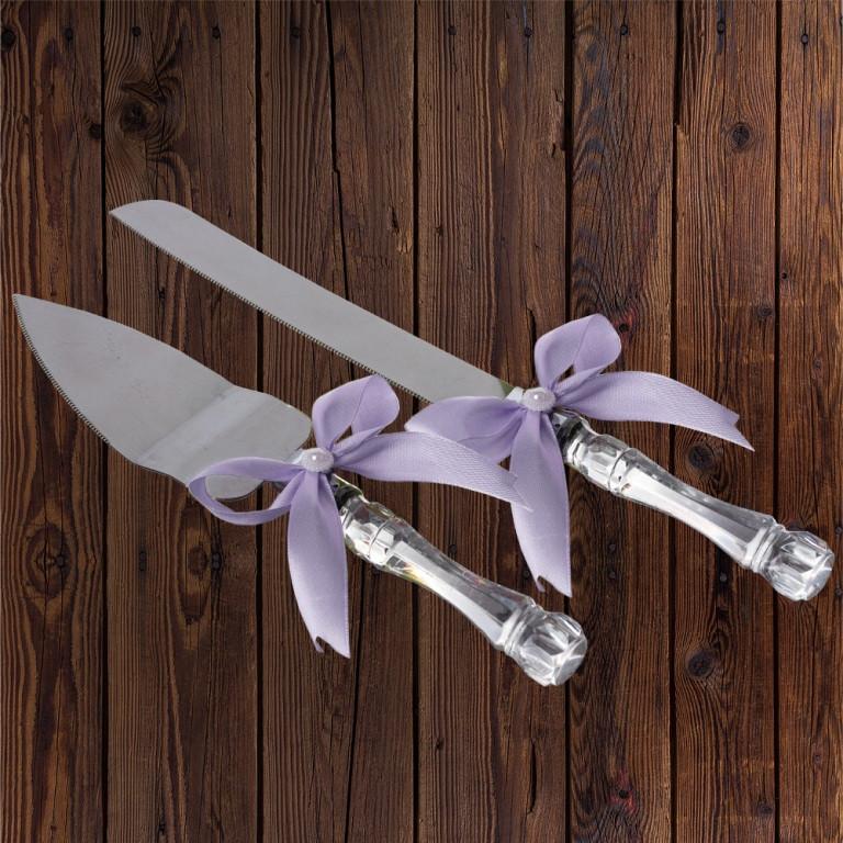 Набор нож и лопатка для свадебного торта (лиловый цвет), арт. DC-0168-19