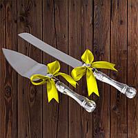 Набор нож и лопатка для свадебного торта (желтый цвет), арт. DC-0168-22