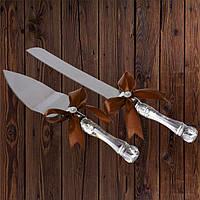 Набор нож и лопатка для свадебного торта (коричневый цвет), арт. DC-0168-24