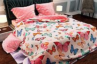 КОМПЛЕКТ ПОСТЕЛЬНОГО БЕЛЬЯ. Ткань БЯЗЬ. размер - ЕВРО. Цвет белый, нежно розовый, с бабочками