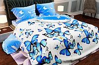 КОМПЛЕКТ ПОСТЕЛЬНОГО БЕЛЬЯ. Ткань БЯЗЬ. размер - ЕВРО. Цвет белый, синий, бирюзовый, с бабочками