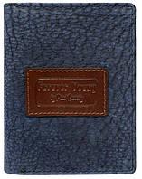 Мужское винтажное портмоне из кожи ALWAYS WILD синее