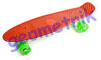 Пенни борд со светящимися колёсами iA009 нагрузка до 80кг 5+ / оранжевый