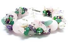 Набір прикрас. Сережки, браслет, намисто. Мікс Рожевий кварц. 12мм, фото 3